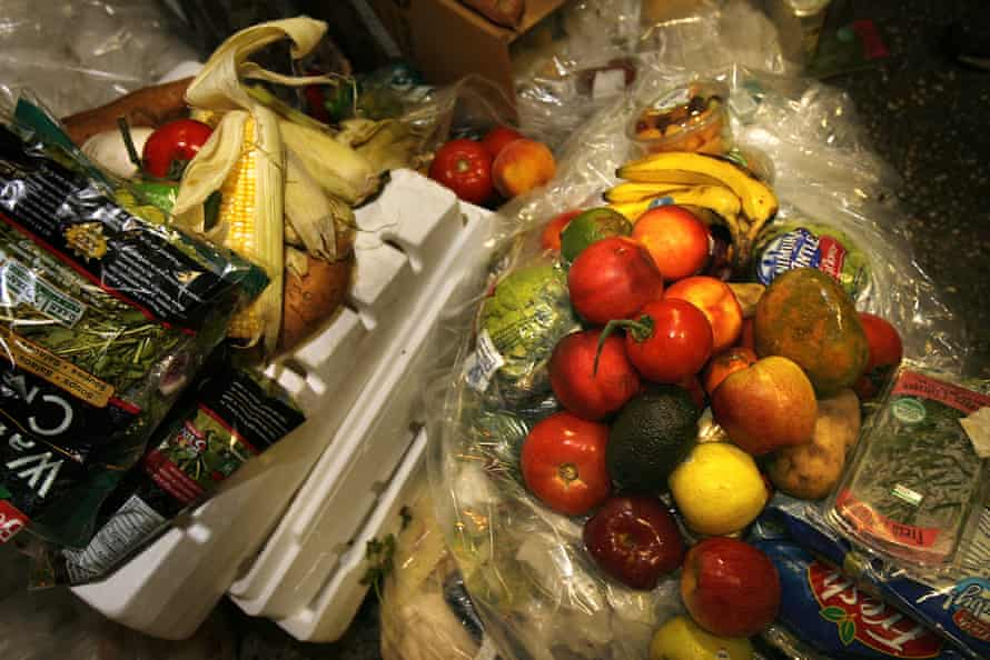 Edible food dumped by vendors in a New York market