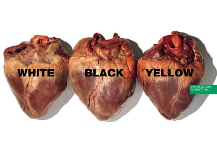 Three raw hearts, with the words 'white', 'black' and 'yellow' written on each.