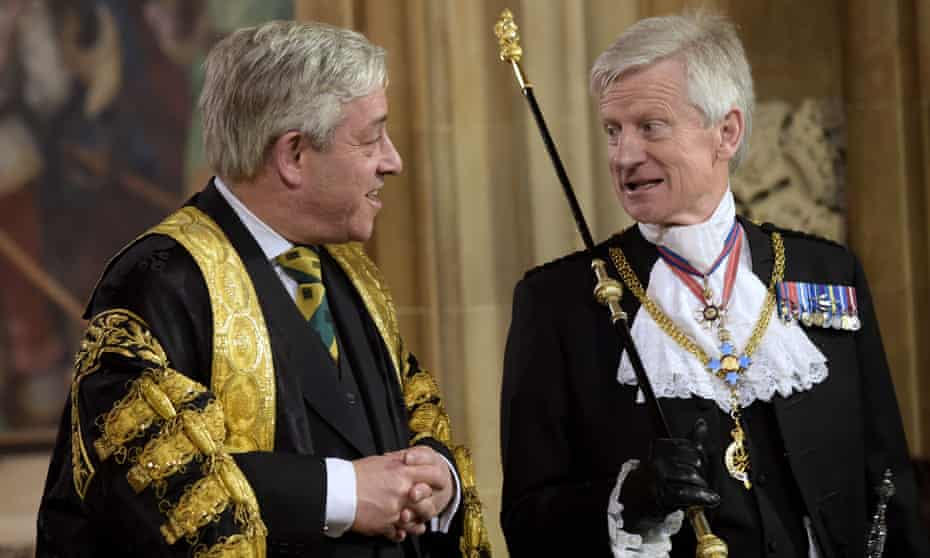 John Bercow, left, and Black Rod, Lt Gen David Leakey, at the state opening of parliament in May 2016.