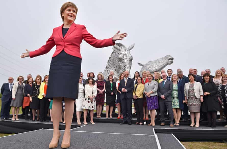 Nicola Sturgeon gathered her newly-elected group of 63 SNP MSPs at the Kelpie horses near Falkirk on Saturday.