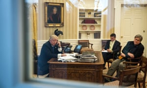 Steve Bannon (right) and the national security adviser, Michael Flynn, sit in on Donald Trump's testy phone call with the Australian prime minister, Malcolm Turnbull.