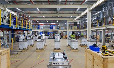 A robot maintenance area at Ocado's Erith warehouse – 1,050 humans work alongside their 1,800 metal colleagues.