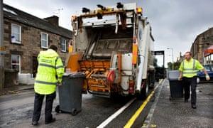 Bin it: a waste lorry collects rubbish in Edinburgh.