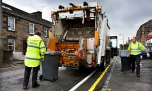Bin it: a waste lorry collects rubbish in Edinburgh.