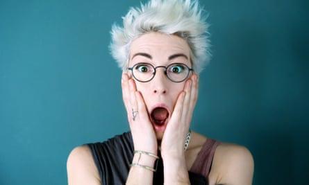 Comedian Iszi lawrence, shocked face headshot