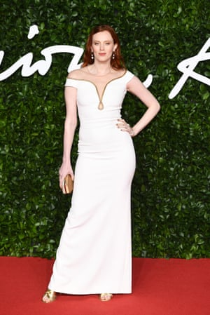 Karen Elson wearing Stella McCartney. The designer teamed up with Atelier Swarovski to create a look made from sustainable viscose and lab-grown diamonds