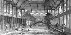 An illustration from 1875 of the floating swimming bath in the Thames at Charing Cross.