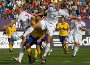 Toni Duggan, right, in action in the final in 2009. 'We know it's coming, it's just a case of when,' she says.