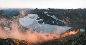 Sunrise shot of Glacier Du Baounet by Scott Connaroe, who made a significant study of the Alps, where the borders of Switzerland, Italy, Austria and France are based on glaciers and therefore in flux. As alpine permafrost retreats higher, terrain disintegrates below and landscapes no longer conform to borders established in the last century