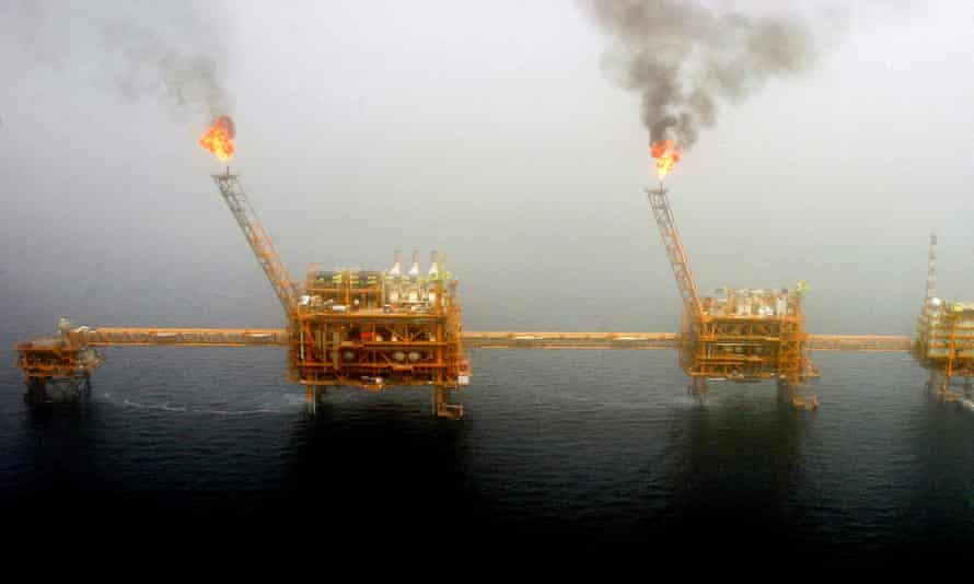 Gas flares from an oil production platform south of Tehran. The PGPIC group is responsible for 50% of Iran's petrochemical exports.