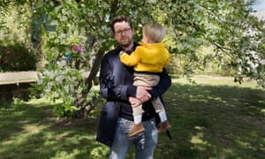 Ben Fergusson with his son in Berlin.