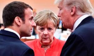 Emmanuel Macron, Angela Merkel and Donald Trump.