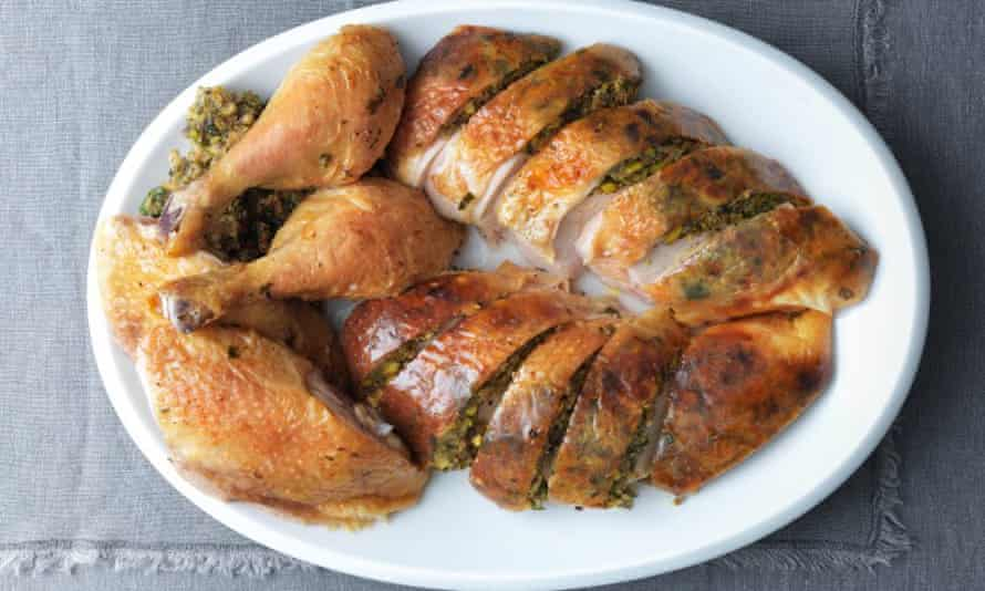 Roast chicken with herb, pistachio and sourdough citrus stuffing