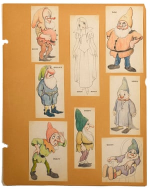 The full selection of eight Albert Hurter concept drawings, auctioned at Bonhams.