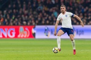 Jordan Henderson of England controls the ball