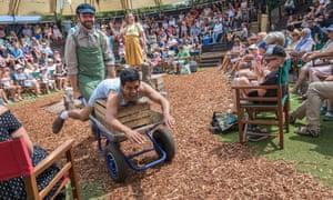 Mitesh Soni, on the wheelbarrow, gives a fine performance as Roger.