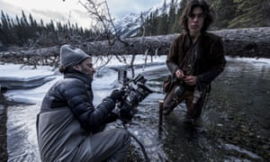 Mexican cinematographer Emmanuel Lubezki on the set of The Revenant.
