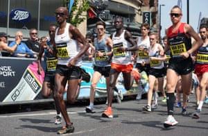 Mo Farah running in Manchester.