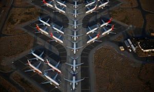 Grounded 737 Max planes at Boeing's facility