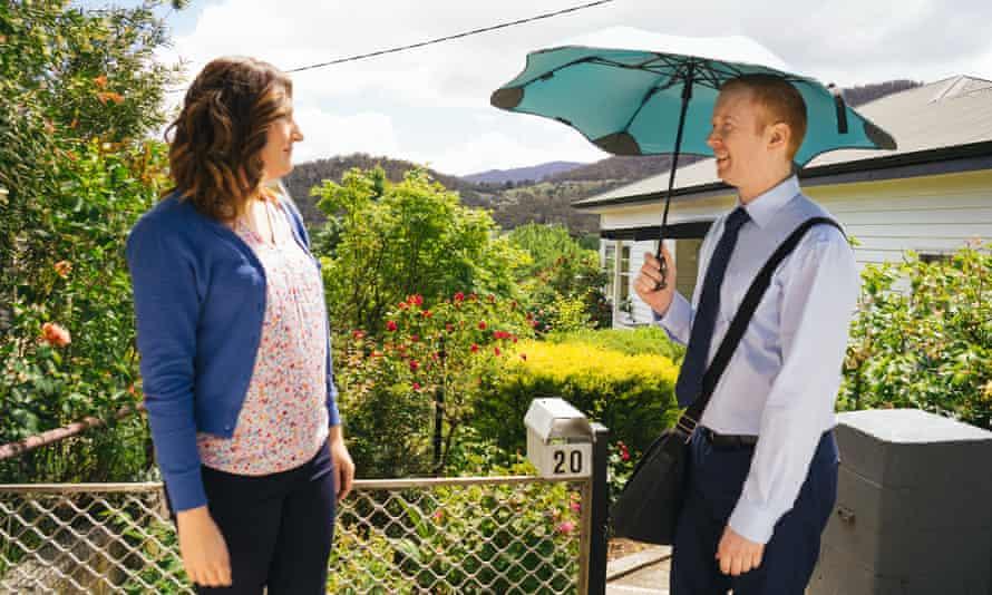 Emma (Celia Pacquola) and Daniel (Luke McGregor) , in season four of Rosehaven