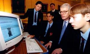 John Major with schoolchildren