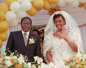 Grace and Robert Mugabe on their wedding day