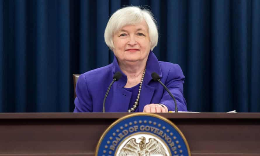 Janet Yellen announcing the 0.25% rise in US interest rates at a press conference in December.