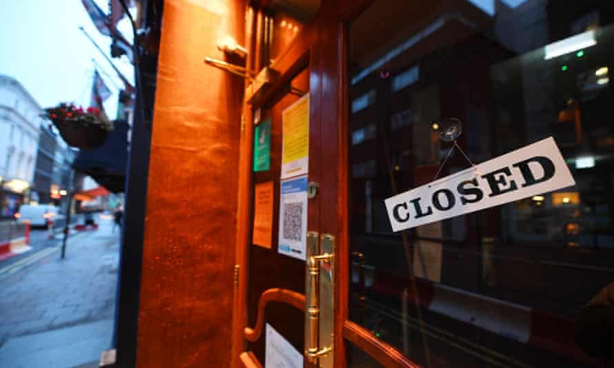 A closed pub in Soho, central London, after tier 4 restrictions were imposed.