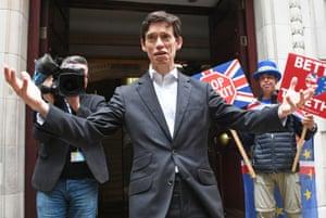 Rory Stewart gestures outside Millbank studios in London, England