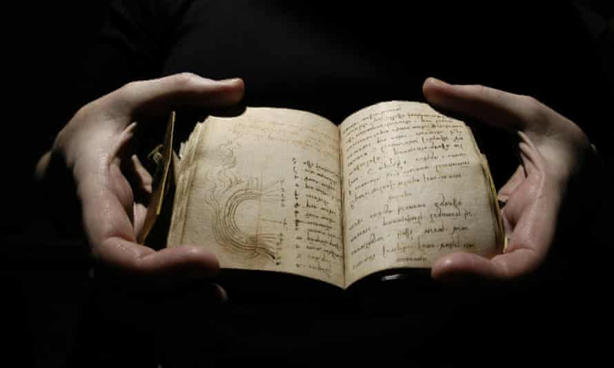 One of the Codex Forster notebooks on view at the Victoria and Albert Museum