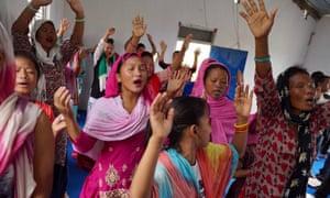 Worshippers at a Christian church in Thakaldanda, Nepal