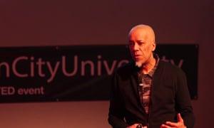 Martin Glynn delivering a TED talk at Birmingham City University.