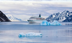 A cruise ship in the Svalbard archpelago.