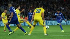 Riyad Mahrez fires in a shot at goal.