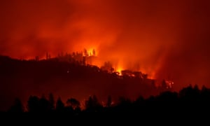 The Camp Fire burns in the hills 2018 near Big Bend, California, on Saturday.
