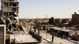 A general view shows destroyed buildings near the East Raqqa front line.