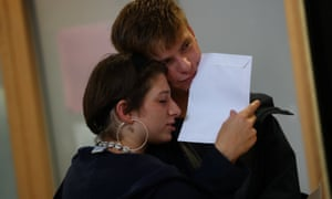 Another two students overcome with emotion at Stoke Newington School and Sixth Form in London