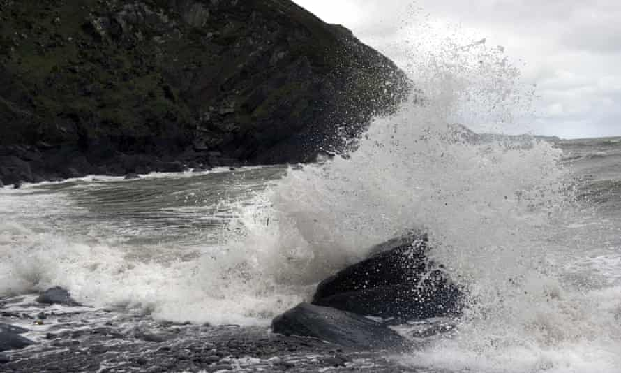 Where the action isn't ... waves crash against the rocks at Heddon's Mouth, north Devon.