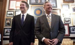 Brett Kavanaugh meets with Senator Lindsey Graham on Capitol Hill.