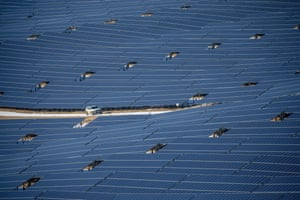 Van, Turkey. A drone photo shows solar panels at a solar energy power plant (GES) in Edremit district. Van province has become one of the Turkey's major markets in electric generation from the sun, with a solar energy power plant with 37 megawatts of total capacity supplying power to 80,000 households