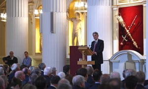 Philip Hammond giving his Mansion House speech.