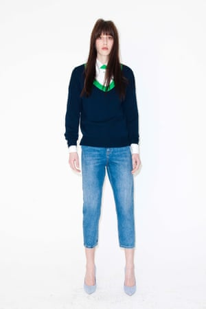short legged blue jeans New Look, white shirt, blue and green jumper Tosphop, blue high heeled shoes Dune