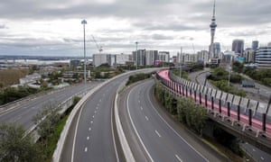 A deserted central motorway interchange in Auckland, New Zealand on 14 August 2020.