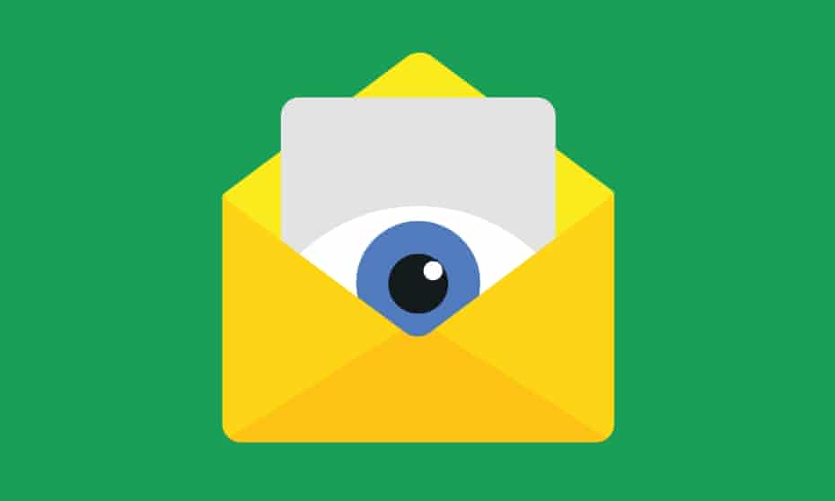 Illustration of an eye peeping out of an envelope