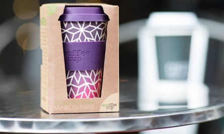 A reusable coffee cup made from bamboo. Disposable coffee cups cannot be recycled because of the plastic lining inside.