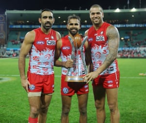 """""""I actually photographed three years of the booing of Adam Goodes, and I'm pretty sure I'm the only one that got that photograph on that day."""" Adam Goodes, Louis Jetta, Lance Franklin. Sydney Swans win the Indigenous Round at the SCG in 2015."""