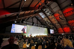 The plenary room where delegates from around the world have gathered for the UN climate talks on Monday in Paris