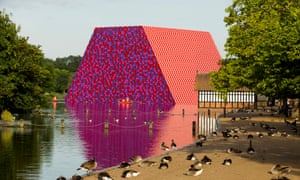 The London Mastaba by Christo, on Hyde Park's Serpentine lake.