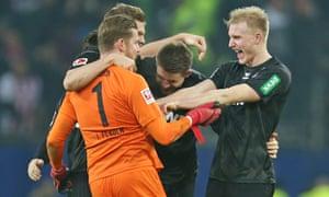 FC Köln players celebrate after their win in Hamburg.