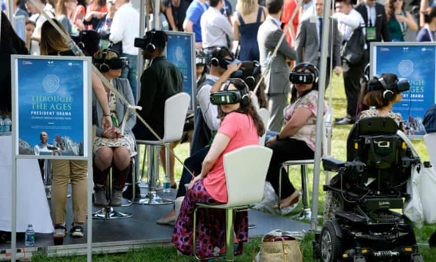 Attendees sample the virtual reality experience.